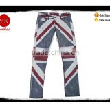 Latest fashion England flag men 's denim printed skinny boy pants male jeans pants factory