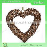 Brown willow heart Hanging Wicker Heart for Wedding Party Decoration with Gingham Ribbon