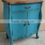 Stocklot Furniture Hand painted two doors blue cabinet with one drawer and Two Tone,antique solid wooden living room cabinet