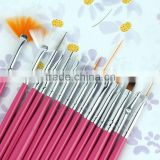 hot selling professional 15pcs pink acrylic nail Art brush                                                                         Quality Choice