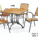 aluminum furniture outdoor coffee shop leisure wooden chairs table garden set YT48,YC066A