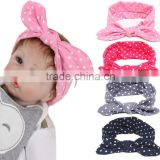 Foreign trade 2016 Tiara children hair rabbit ears with soft dot silk printing baby female baby with milk