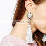 Vintage Bohemia Style Tiny Crystal Beads Wrapped Gray Oval Colorful Beads Fabric Tassel Drop Earrings For Elegant Women
