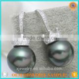 Top quality S925 silver crown 10mm 14mm tahiti black gold white shell pearl earrings for women
