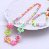 2016 Handmade Candy Color Children Flower Necklace Lovely Beads Baby Kids Necklace Bracelet Jewelry Set