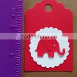 Red & white Paper Hang Tags Baby Shower Party Favor Label Gift Elephant DIY