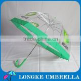"24"" straight green color transparent clear auto open customized umbrella"