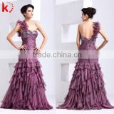 Elegant sexy backless beaded and ruffle layering prom dresses purple western quinceanera dress