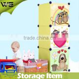 toy plastic storage wardrobe print lovely animals design,3 door kids toy closet organizer plastic wardrobe