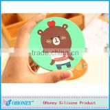Customize logo anti-slip Romany shape tea cup silicone mat,promotion gifts silicone coaster fashion cup mat pads