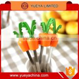 Carrot Shaped Character Dessert Mini Fork Set, Salad Fruit Cake fork, Silicone Stainless set of 6pcs