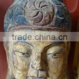 hand carved antique imitation wooden buddha head for home decoration sculpture