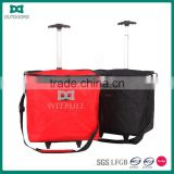 Foldable supermarket shopping basket with wheels