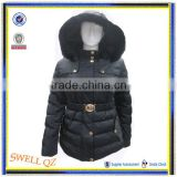 Hot selling high quality woman winter padding coat with rabbit fur hood