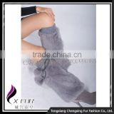 CX-A-14A China Wholesale Ladies Stylish Boot Cuffs Winter Genuine Rabbit Fur Leg Warmer With Balls