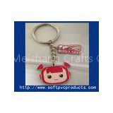 Customised Beautiful Girl Metal Ring Soft PVC Keychain / Cute Key Chain Rings