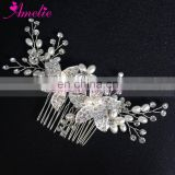Ameliebridal Pearl Flower Bridal Wedding Rhinestone Bride Women Hair Combs Hair Accessories Prom Dress Prop Favors