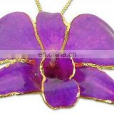 Real Orchid Pendant With Gold Plated Broders