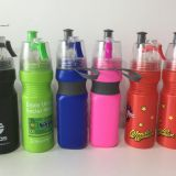 summer cheaper plastic PE spray sports drinking water bottle with mist lid