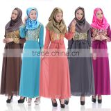 Newest arrival five colors double layer thick chiffon islamic women clothing kaftans jilbab MUSLIM ABAYA