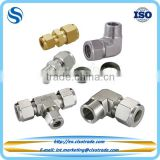 Double ferrule compression fitting, union elbow tee fitting for metric tubes, tube connector