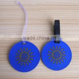 Custom Made Blue Color Double Side Sun Round Baggage Tag Airline