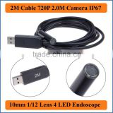 2M Cable Length Waterproof USB Endoscope Tube Snake Borescope Video Inspection Camera 2.0M HD 1080*720P with 4 LEDs 10mm Lens