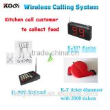 Ticket Queue Management System CE certification 433mhz restaurant call system digital electronic waiter calling system