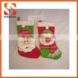 SJ-6720 Promotional fleece cute sant socks gift Christmas stocking