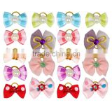 Dog Pet Cat Puppy Hair Bows Mixed Colors Grid Dots Mixed Designs Rubber Band Wholesale Pet Gifts