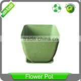 5 inch Biodegradable Eco Friendly Bamboo Fiber Square Plant Pot, Planter, Flower Pot with Pall