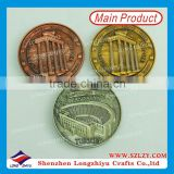 High quality zinc alloy 3D building coin producer,antique gold silver copper coin maker