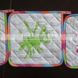 printed cotton pot holder white with colorful printing oven mit for promotion and kitchen