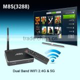 M8S RK3288 Quad core 4.4 full hd 1080p porn video android tv box 2G/16G bluetooth 4.0 and 2.0MP camera with remote control