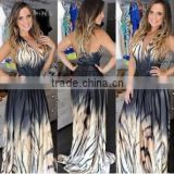 hot sale lady tiger stripes dresses, thin and sexy evening gown,Gorgeous floor-length gown