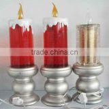 flameless battery operated led candle light church golden RED USB christmas light water filled