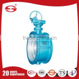 worm gear Flange Connected Metal-seal Three-Eccentric Hard-Sealing Full PTFE coated butterfly valve