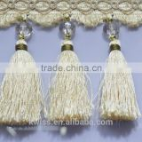 special curtain garlands polyester tassel fringe trimming with fine design,fancy fringe tassel