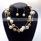 Fashion Jewelry Sets White Pearl Necklace Earrings Women Gold Chain Necklace Sets Free Shipping brand new