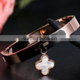 2016 Trending Products 18K Gold Clover Bangle 316l Stainless Steel Four Leaf Clover Bracelet