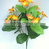 Artificial Polyester Flowers Bush H34cm Orange Stephanotis