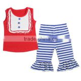 Wholesale 2016 Ruffle Clothing Bulk Buy Boutique Cotton Casual July 4th Patriotic Outfit Kids Clothes Wholesale