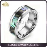 KSTONE Charming Tungsten Shell inlaid polished shiny Ring, Tungsten Abalone Shell Ring for Engagement Wedding