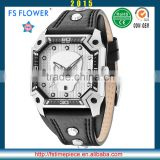 FS FLOWER - Boy Men Hand Watch Fashion Specially Designed Quartz Stainless Steel Back Watch Japan Movement Leather Strap