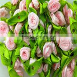 Wholesale Garment DIY Small Decoration Mini Satin Ribbon Artificial Rose Flower With Leaf