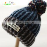 high quality Custom Acrylic knited cap With Top Ball/plush Beanie Hat/Winter fashion warm hat Female lovely melange winter hat