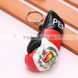 hot sell PVC leather Peru flag boxing glove keychain/national flag boxing glove keyring