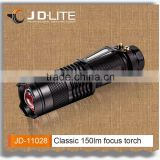 Portable black strong light torch mini size flat flashlight with clip for convenience carry