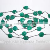 Green onyx fancy Bezel Beads Chain Garland