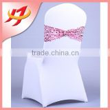 Polyester lycra wedding banquet multi-colored sequin spandex chair sash band